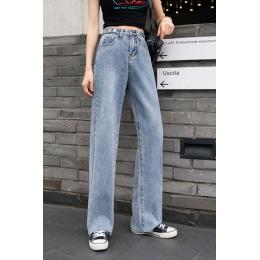 实拍 2020夏季韩版新款宽松直筒牛仔裤女