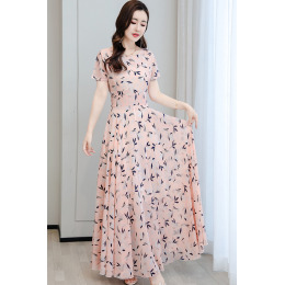 2020女装夏季新款气质雪纺连衣裙长款收腰显瘦印花清新大摆长裙子