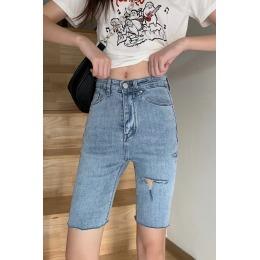 实拍实价~韩版高腰紧身显瘦弹力五分牛仔短裤女学生中裤