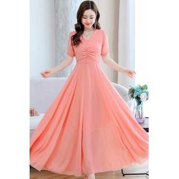 2020新款流行夏季沙滩裙子复古雪纺连衣裙女长款修身显瘦长裙超仙