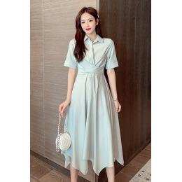 实拍 新款不规则下摆显瘦多种系带法大变身淡绿色连衣裙