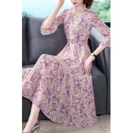 紫色的v领雪纺碎花连衣裙女夏天2020新款显瘦气质仙女五分袖长裙