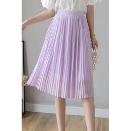 实拍半身裙女夏中长新款高腰显瘦雪纺裙子百搭中裙a字伞裙百褶裙