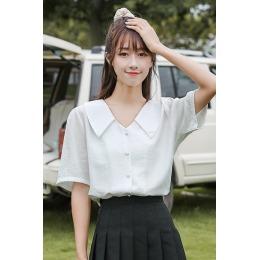 2020 实拍日系女装气质V领单排扣心机衬衫设计感超仙女夏季百搭