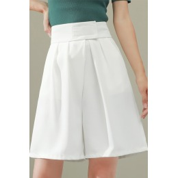 实拍夏季个性魔术贴韩版高腰直筒五分裤西装裤宽松显瘦阔腿短裤薄