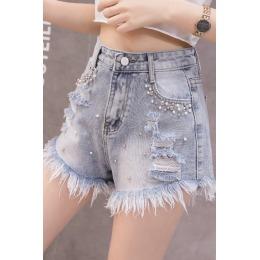 实拍9877#钉珠牛仔短裤女韩版夏装女学生高腰显瘦破洞毛边阔腿裤