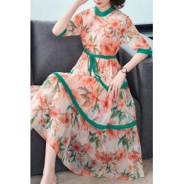 2020夏季新款女装洋气桑蚕丝印花贵夫人妈妈真丝两件套连衣裙气质