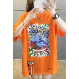 实拍韩版夏季纯棉半袖短袖T恤裙女装宽松新款中长款上衣服ins潮
