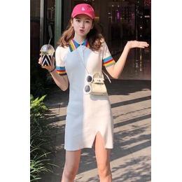胖子王老板 本期c位 把彩虹穿在身上 明媚少女彩虹针织连衣裙