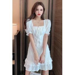 实拍 2020夏季韩版气质立体花朵泡泡袖连衣裙甜美木耳边仙女裙