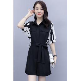 实拍2020夏装新款韩版连衣裤女高腰显瘦条纹袖小个子洋气连体套装