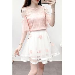 【实拍】3560#名媛风气质轻熟可盐可甜蕾丝衫网纱半裙两件套