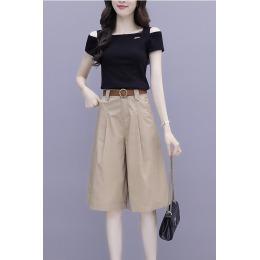高腰阔腿短裤套装女装2020夏季新款韩版洋气减龄时尚小个子两件套