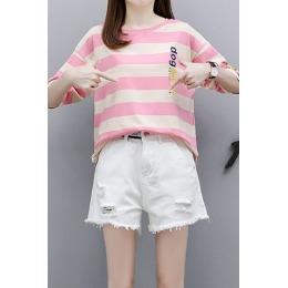 2020年夏季新款宽松时尚洋气百搭条纹T恤+牛仔短裤两件套套装潮
