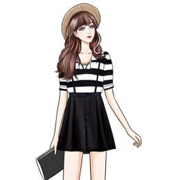 实拍套装女夏季2020新款学院风条纹衬衫元气背带裤洋气减龄两件套