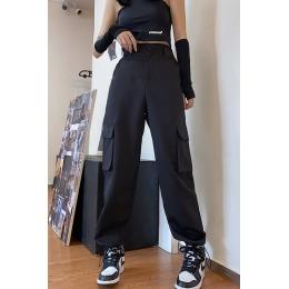 实拍#休闲裤女2020夏季新款宽松显瘦高腰直筒束脚工装裤子