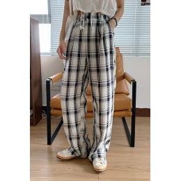 实拍#格子裤女2020夏季新款高腰显瘦复古宽松阔腿休闲直筒裤ins潮