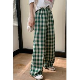 实拍#格子裤女2020夏季薄款宽松韩版港风复古高腰显瘦直筒裤子潮
