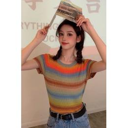 2020夏季chic彩虹上衣渐变拼色条纹修身减龄冰丝针织T恤短袖女