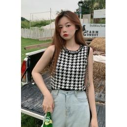 韩版夏季复古学院风单件修身显瘦百搭千鸟格短款针织毛线背心