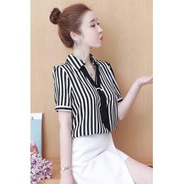 条纹衬衫女2020夏装新款韩版时尚职业气质女人味短袖上衣打底衫潮