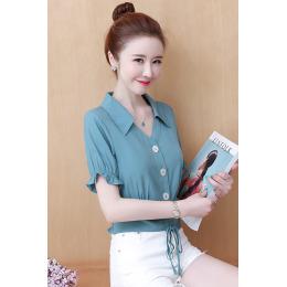 夏季新款翻领衬衫女短袖设计感修身显瘦蝴蝶结系带小个子短款上衣