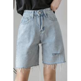 夏季韩版2020新款高腰显瘦破洞外穿泫雅风网红五分牛仔裤女裤子潮