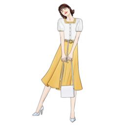 实拍时尚显瘦减龄套装撞色方领短袖衬衫女+显瘦A字裙半身裙套装潮