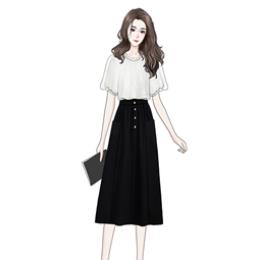 仙女短袖雪纺衫洋气时尚灯笼袖衬衫+中长款高腰显瘦A字半身裙套装