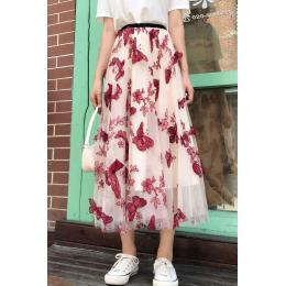 实拍四季可穿重工立体刺绣网纱半身裙超仙时尚大牌大摆裙中长裙