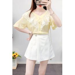 夏季新款短裙时尚套装女蕾丝短袖上衣+裤裙两件套