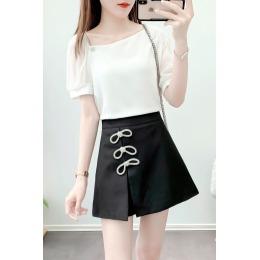 夏季新款短裙时尚套装女雪纺短袖上衣+蝴蝶结镶砖裤裙两件套