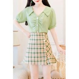 实拍夏季新款短裙时尚套装女绵绸短袖上衣+鱼尾半身裙两件套