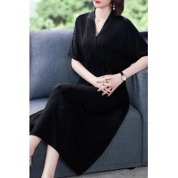 高端名媛气质连衣裙女夏2020新款典雅黑色高腰遮肚子夏天显瘦长裙