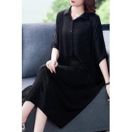 衬衣风连衣裙女夏装2020新款气质名媛大码夏季黑色遮肚子显瘦裙子