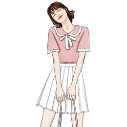 实拍2020夏小清新减龄娃娃领针织上衣百搭百褶半身裙A字裙套装女
