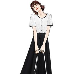 实拍法式显瘦套装2020夏新款圆领小衫中长款高腰雪纺大摆裙A字裙