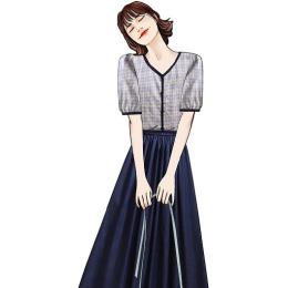 实拍网红韩版时尚套装格子单排扣上衣显瘦中长款大摆半身裙两件套