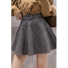 实拍2019秋冬新款高腰A字短裙女半身裙毛呢格子裙百褶蓬蓬裙黑色