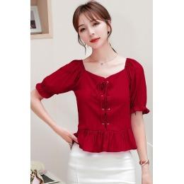 韩版复古法式百搭方领泡泡袖紫色衬衫收腰系带裙摆小衫短款上衣女