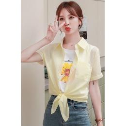 雪纺条纹衬衫女2020新款春夏假两件韩版设计小雏菊上衣短袖衬衣