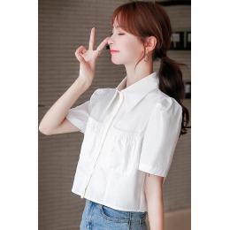 白色条纹衬衫女夏装2020新款韩版宽松短款设计感小众泡泡袖衬衫女