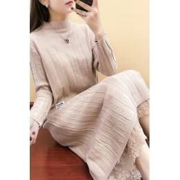 秋冬厚款套装裙女针织两件套连衣裙春秋装中长款蕾丝打底裙毛衣裙