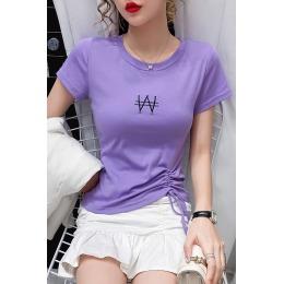 2118#2020新款时尚不规则T恤女短袖夏纯棉修身百搭体恤紫色上衣潮