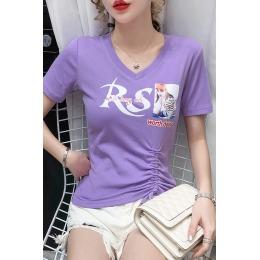 2116网红ins紫罗兰色短款T恤女2020年夏装心机设计感抽绳短袖修身
