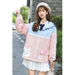 2020秋季小清新可爱猫上衣拼色短外套高中生初中学生少女连帽夹克