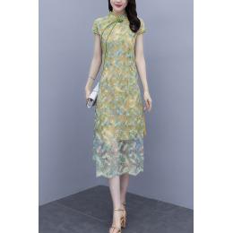 夏季新款时尚印花收腰妈妈装中长款旗袍改良版连衣裙