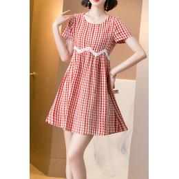 雪纺连衣裙女夏装2020新款女装流行气质棉麻格子大码遮肚裙子夏季