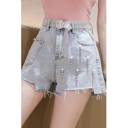 欧洲站重工水钻钉珠牛仔短裤女夏季新款阔腿热裤