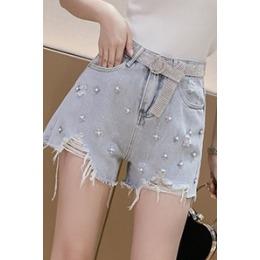 网红破洞牛仔短裤女夏季新款显瘦阔腿热裤